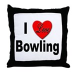 I Love Bowling Throw Pillow