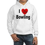 I Love Bowling (Front) Hooded Sweatshirt