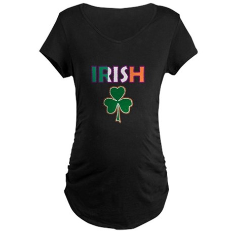 Irish Shamrock Maternity Dark T-Shirt
