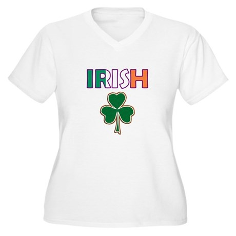 Irish Shamrock Women's Plus Size V-Neck T-Shirt