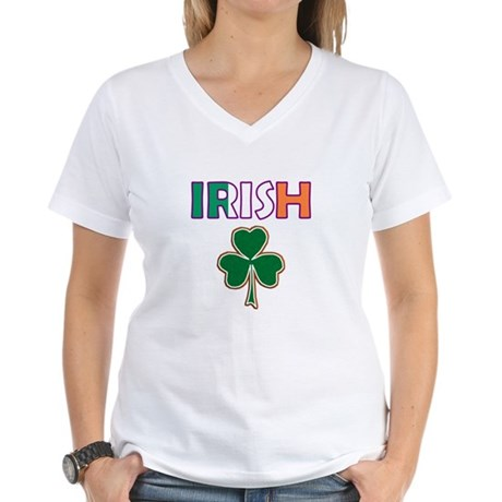 Irish Shamrock Women's V-Neck T-Shirt