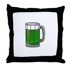 Mug of Green Beer Throw Pillow