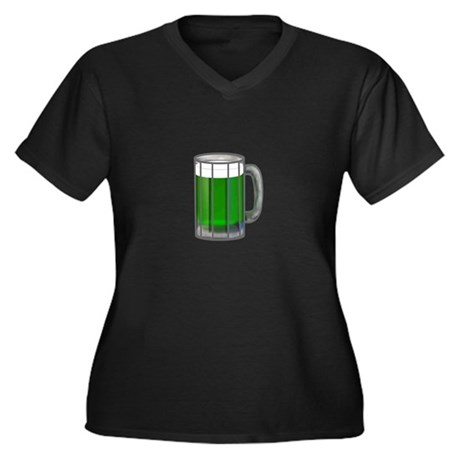 Mug of Green Beer Women's Plus Size V-Neck Dark T-