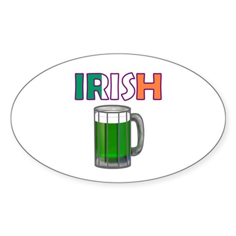 Irish Green Beer Oval Sticker