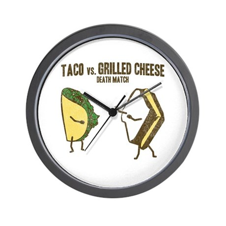 Taco VS Grilled Cheese Wall Clock