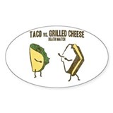Taco VS Grilled Cheese Oval Bumper Stickers
