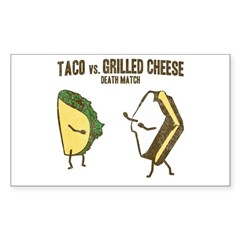 Taco VS Grilled Cheese Rectangle Sticker