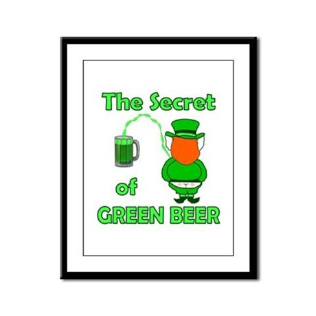 Funny Green Beer Framed Panel Print