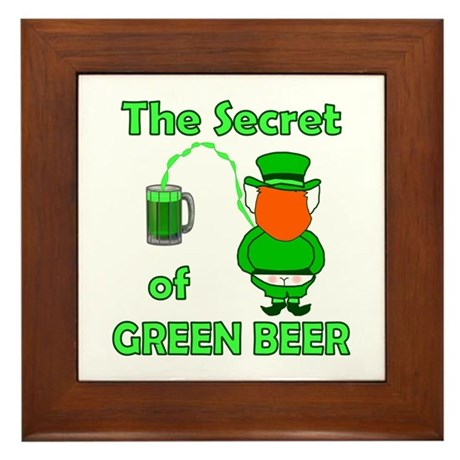 Funny Green Beer Framed Tile