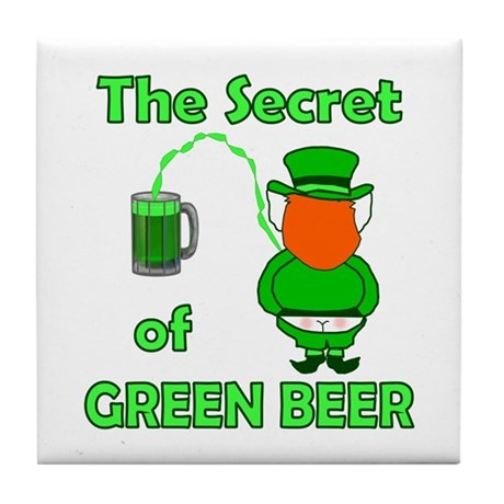 Funny Green Beer Tile Coaster
