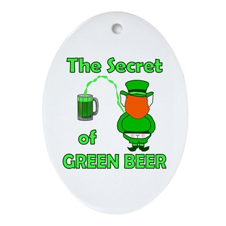 Funny Green Beer Oval Ornament