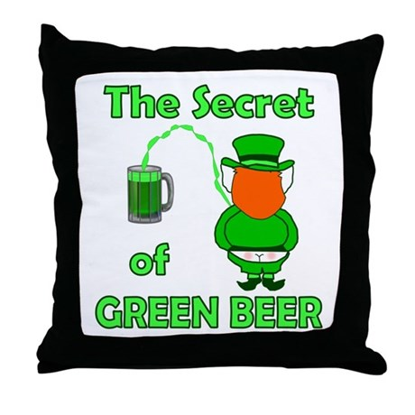 Funny Green Beer Throw Pillow