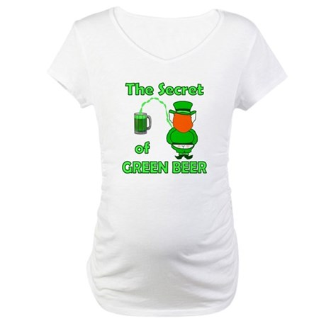 Funny Green Beer Maternity T-Shirt