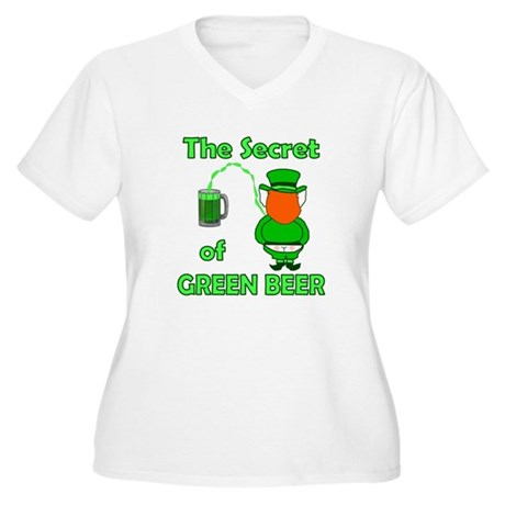 Funny Green Beer Women's Plus Size V-Neck T-Shirt