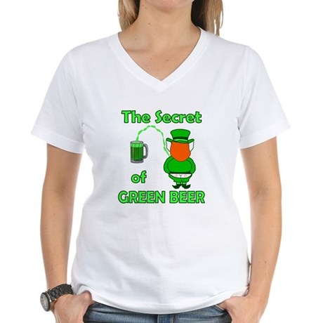 Funny Green Beer Women's V-Neck T-Shirt
