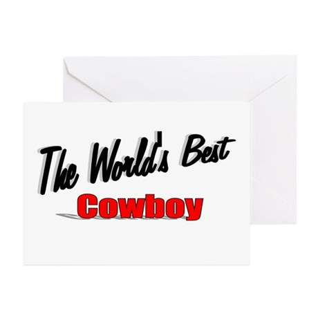 """ The World's Best Cowboy"" Greeting Cards (Pk of 2"