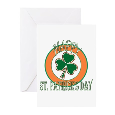 Happy St Patricks Day Shamrock Greeting Cards (Pk