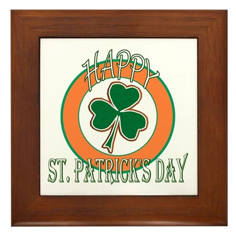 Happy St Patricks Day Shamrock Framed Tile
