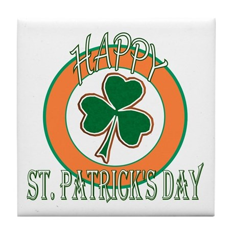 Happy St Patricks Day Shamrock Tile Coaster