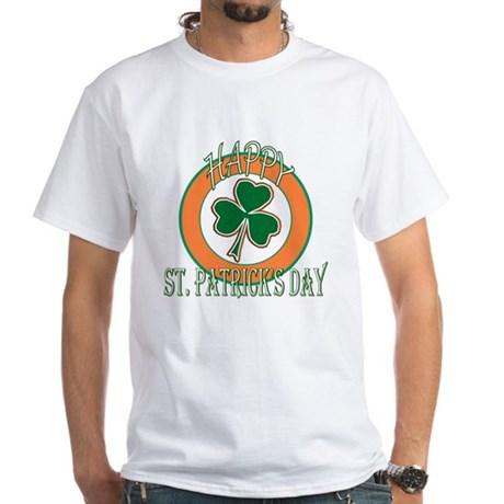 Happy St Patricks Day Shamrock White T-Shirt