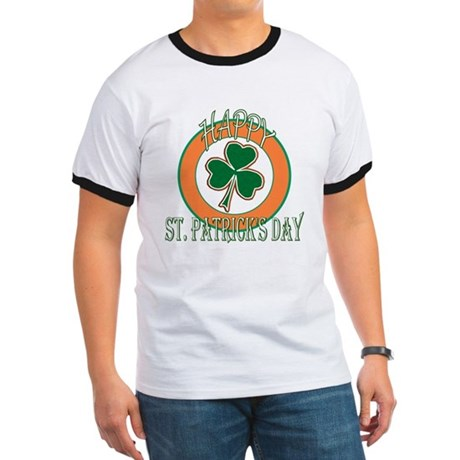 Happy St Patricks Day Shamrock Ringer T