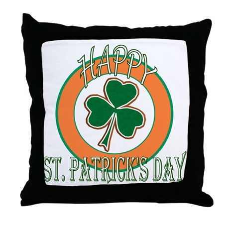 Happy St Patricks Day Shamrock Throw Pillow