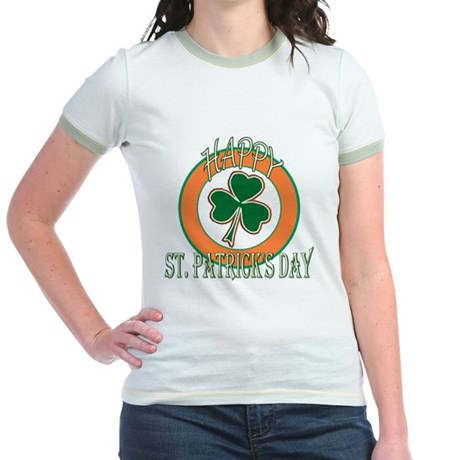 Happy St Patricks Day Shamrock Jr. Ringer T-Shirt