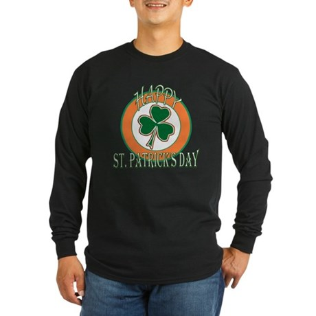 Happy St Patricks Day Shamrock Long Sleeve Dark T-