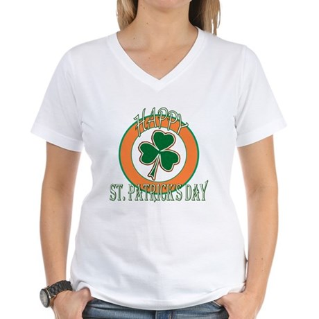 Happy St Patricks Day Shamrock Women's V-Neck T-Sh