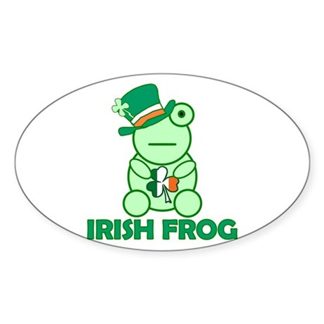 Irish Leprechaun Frog Oval Sticker