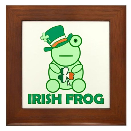 Irish Leprechaun Frog Framed Tile