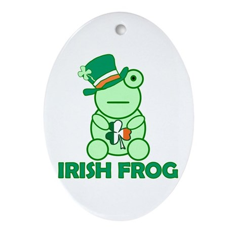 Irish Leprechaun Frog Oval Ornament