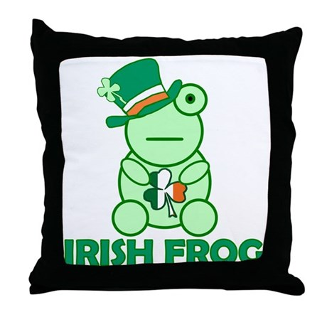 Irish Leprechaun Frog Throw Pillow