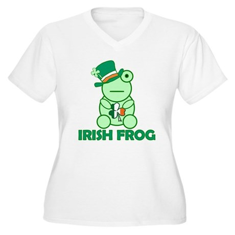 Irish Leprechaun Frog Women's Plus Size V-Neck T-S