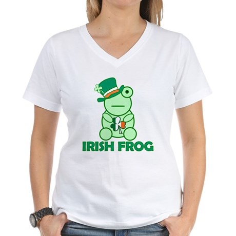 Irish Leprechaun Frog Women's V-Neck T-Shirt