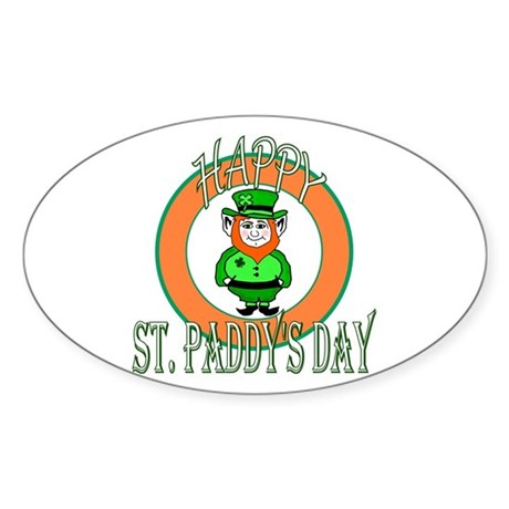 Leprechaun Happy St Paddy's Oval Sticker