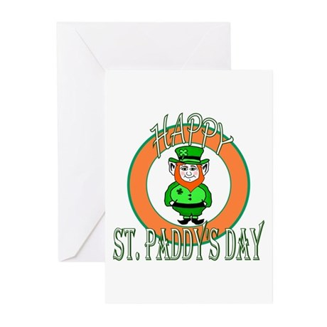 Leprechaun Happy St Paddy's Greeting Cards (Pk of