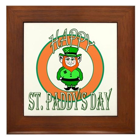 Leprechaun Happy St Paddy's Framed Tile