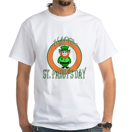 Leprechaun Happy St Paddy's White T-Shirt
