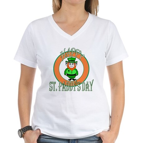 Leprechaun Happy St Paddy's Women's V-Neck T-Shirt