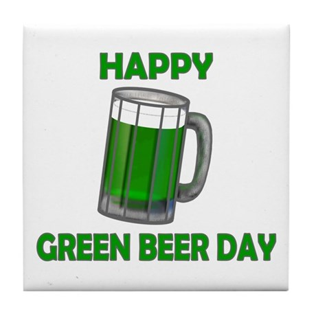 Green Beer Day Tile Coaster