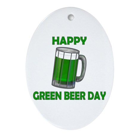 Green Beer Day Oval Ornament