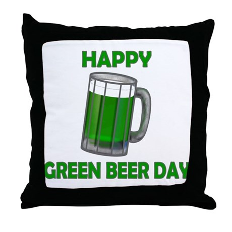 Green Beer Day Throw Pillow
