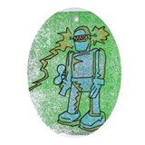 windup robot Oval Ornament