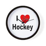 I Love Hockey Wall Clock