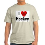 I Love Hockey (Front) Ash Grey T-Shirt