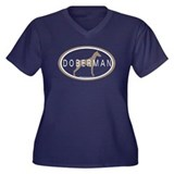Doberman Dog Oval Women's Plus Size V-Neck Dark T-