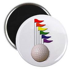 "Golf Ball & Rainbow Flags 2.25"" Magnet (10 pack)"