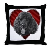 Black Poodle Valentine Throw Pillow