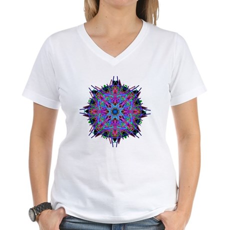 Kaleidoscope 005b2 Women's V-Neck T-Shirt